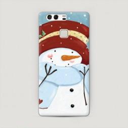 Пластиковый чехол Застенчивый снеговик на Huawei P9 (Dual)