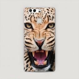 Пластиковый чехол Леопард 3d на Huawei P9 (Dual)