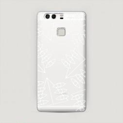 Пластиковый чехол Символика евангелиона белая на Huawei P9 (Dual)