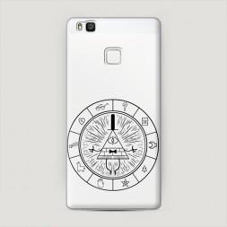 Пластиковый чехол Тайные символы в круге черные на Huawei P9 lite