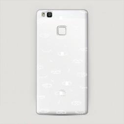 Пластиковый чехол Глаза фон белый на Huawei P9 lite