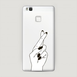 Пластиковый чехол Пальцы графика на Huawei P9 lite