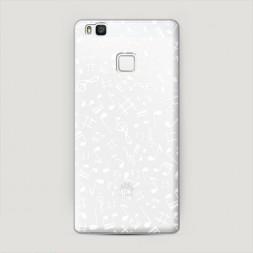 Пластиковый чехол Ноты фон белый на Huawei P9 lite