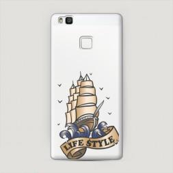 Пластиковый чехол Корабль life style на Huawei P9 lite