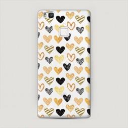 Пластиковый чехол Желто-белые сердечки на Huawei P9 lite