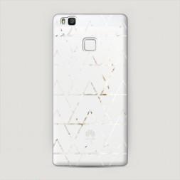 Пластиковый чехол Треугольники трафарет белый на Huawei P9 lite