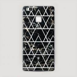 Пластиковый чехол Черный мрамор с узорами треугольниками на Huawei P9 lite
