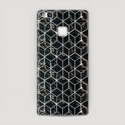 Пластиковый чехол Узор кубы черный на Huawei P9 lite