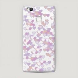 Пластиковый чехол Сиреневые сердечки на Huawei P9 lite