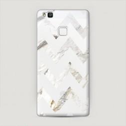 Пластиковый чехол Шеврон белый мрамор на Huawei P9 lite