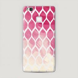 Пластиковый чехол Розовые листики градиент на Huawei P9 lite