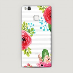 Пластиковый чехол Цветы на полосках 2 на Huawei P9 lite