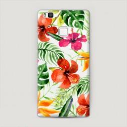 Пластиковый чехол Яркие тропические цветы на Huawei P9 lite