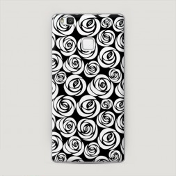 Пластиковый чехол Розы графика черная на Huawei P9 lite