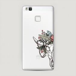 Пластиковый чехол Череп быка с цветами на Huawei P9 lite
