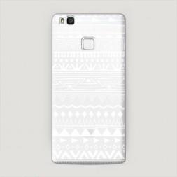 Пластиковый чехол Узор ацтеков графика белая на Huawei P9 lite