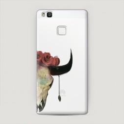 Пластиковый чехол Череп быка с розами на Huawei P9 lite
