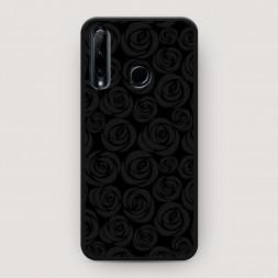 Матовый силиконовый чехол Розы графика черная на Huawei P Smart Plus 2019